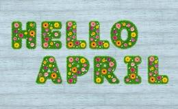 Olá! inscrição de abril das letras da grama com flores a Imagem de Stock