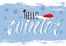Olá! inscrição handlettering do inverno foto de stock
