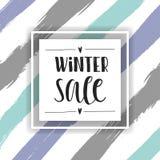 Olá! inscrição handlettering do inverno cópias e cartazes Entregue a frase tirada da inspiração do inverno em fundo listrado Fotos de Stock Royalty Free