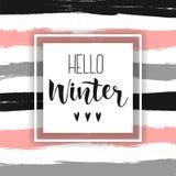 Olá! inscrição handlettering do inverno cópias e cartazes Entregue a frase tirada da inspiração do inverno em fundo listrado Foto de Stock Royalty Free