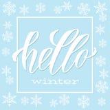 Olá! inscrição handlettering do inverno Ilustração do vetor da rotulação imagem de stock royalty free