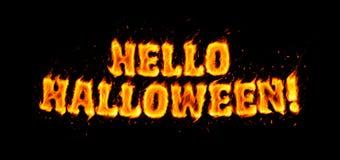 Olá! inscrição impetuosa do Dia das Bruxas no preto ilustração royalty free
