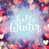 Olá! inverno, fundo borrado, luzes de Natal ilustração do vetor