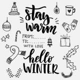 Olá! inverno Símbolos do inverno da garatuja do vetor ilustração stock