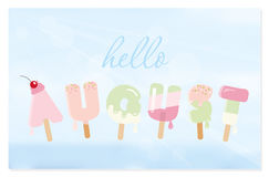 Olá! letras august no fundo borrado do céu Imagem de Stock