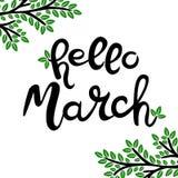 Olá! março entregue tirado rotulando a frase isolada no fundo branco ilustração royalty free