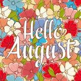 Olá! mensagem do retalho de August Text Fotografia de Stock Royalty Free