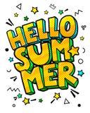 Olá! mensagem do verão no estilo do pop art ilustração royalty free