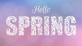 Olá!, mola Fonte decorativa feita dos redemoinhos e de elementos florais Fundo borrado delicado de tons cor-de-rosa e azuis com b ilustração stock