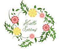 Olá! mola! Grinalda floral no fundo branco Flores coloridas brilhantes da mola Ilustração do vetor ilustração stock