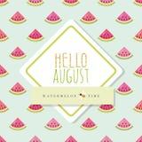 Olá! molde august da bandeira Teste padrão sem emenda incluído com partes da melancia Fotos de Stock