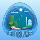 Olá! molde do logotipo do verão Yacht no mar, palmeiras, montanha, mesquita, paraglider no céu Foto de Stock