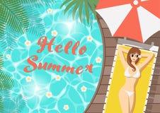 Olá! mulher do verão na plataforma da associação ilustração royalty free
