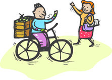 Olá! na bicicleta Foto de Stock