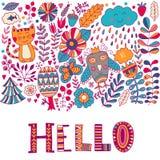 Olá! o cartão da ilustração da rotulação, cura o projeto criançola: garatujas, gato e coruja da flor Fotos de Stock Royalty Free