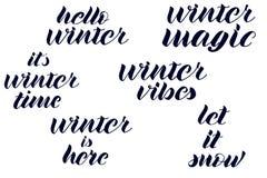 Olá! o inverno, mágica do inverno, vibrações do inverno, inverno está aqui, ele é rotulação do tempo de inverno ilustração royalty free