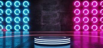 Olá! o rosa de incandescência de néon moderno Blue Circle do roxo do triângulo de Sci Fi da tecnologia deu forma à fase da sala d ilustração royalty free