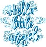 Olá! pouca rotulação do anjo na inscrição azul isolada no fundo branco ilustração royalty free