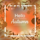 Olá! projeto de cartão do outono Foto de Stock Royalty Free