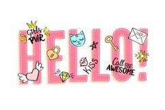 Olá! rotulação com garatujas femininos e frases tiradas mão Fotografia de Stock