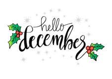 Olá! rotulação de dezembro ilustração do vetor