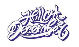 Olá! rotulação de dezembro ilustração royalty free