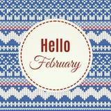 Olá! rotulação de fevereiro no fundo feito malha Fotos de Stock Royalty Free