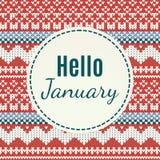 Olá! rotulação de janeiro no fundo feito malha Fotografia de Stock Royalty Free