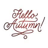 Olá! rotulação do outono Typography escrito mão Ilustração do vetor para sua água fresca de design imagem de stock royalty free