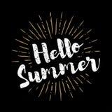 Olá! rotulação do verão com fundo do vetor dos sunbursts Foto de Stock