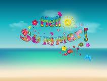Olá! rotulação dos desenhos animados do vetor do verão no fundo da praia do mar Fotografia de Stock