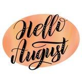 Olá! sinal bem-vindo de August Seasonal ilustração royalty free