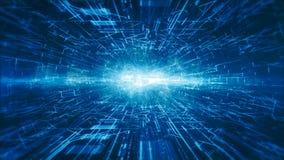 a Olá!-tecnologia digital e os gráficos do movimento da informação abstraem a cor do azul do fundo filme