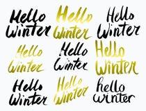 Olá! texto da coleção do inverno Vetor lettering Desenhar à mão Escova do subtítulo letras Imagem de Stock
