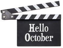 Olá! texto de outubro na ripa fotografia de stock royalty free