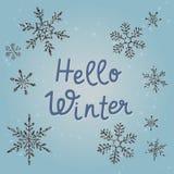 Olá! texto do inverno Cartão azul do feriado do vetor com flocos de neve brilhantes Bandeira do inverno ilustração do vetor