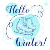 Olá! texto do inverno Escove a rotulação no fundo branco com figura patins e flocos de neve na pista de gelo ilustração royalty free