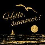 Olá! vela do fundo da tipografia do verão Fotografia de Stock Royalty Free