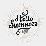 Olá! verão, inscrição tipográfica no fundo monocromático do sol do vintage Ilustração do vetor Fotos de Stock