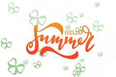 Olá! verão Tipografia escrita à mão da rotulação Foto de Stock