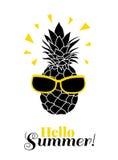 Olá! verão! Vector o abacaxi que veste óculos de sol coloridos no lement tropical das férias de verão Grande para as férias temát Fotos de Stock Royalty Free