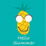Olá! vetor do verão Frutos do abacaxi Imagem de Stock