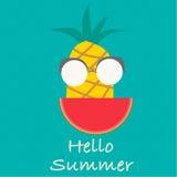 Olá! vetor do verão Frutos do abacaxi Fotos de Stock Royalty Free