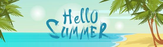Olá! vista para o mar tropical do beira-mar da areia das férias da praia do verão ilustração royalty free