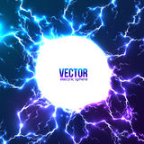 Olśniewająca elektryczna błyskawicowa biała okrąg rama Obraz Royalty Free