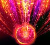 Olśniewającego dużego fantastycznego promieniowego wybuchu czerwony odcień z ilustracja wektor