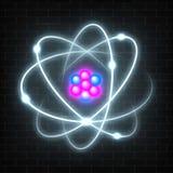 Olśniewający neonowy planetarny model jądrowy atom Abstrakcjonistycznej molekuły rozjarzony projekt Zdjęcia Royalty Free