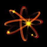 Olśniewający neonowych świateł atomu model Obraz Royalty Free