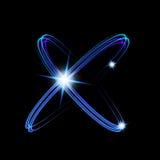 Olśniewający neonowych świateł atomu model Krzyżujący okręgu światła pociągu skutek Fotografia Royalty Free