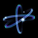 Olśniewający neonowych świateł atomu model Krzyżujący okręgu światła pociągu skutek Rozjarzona atom struktura z magia ogienia pie Zdjęcie Stock
